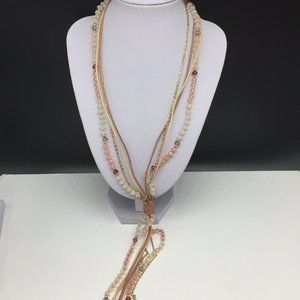 Ann Taylor Loft Pink Faux Crystal Beaded Necklace
